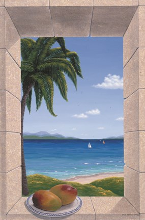 Framed Hawaiian Fantasy with Mangoes Print