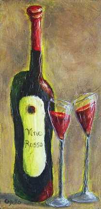 Framed Vino Rosso for Two Print