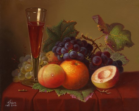 Framed Fruit and Wine Print