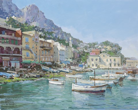 Framed Capri Harbour Print