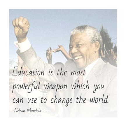 Framed Education is the Most Powerful Weapon - Nelson Mandela Quote Print