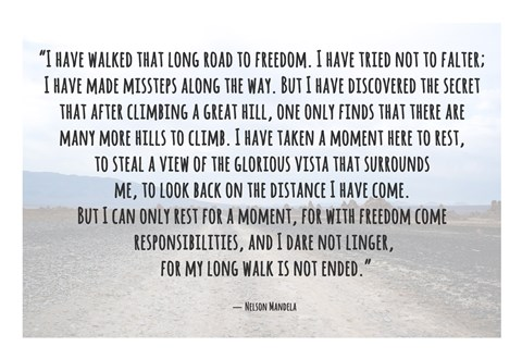 Framed Road to Freedom - Nelson Mandela Quote Print