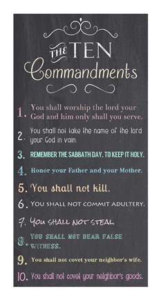 The Ten Commandments Chalkboard Fine Art Print By Veruca