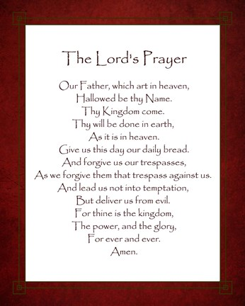 Framed Lord's Prayer - Red Print