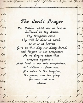 Framed Lord's Prayer - Script Print