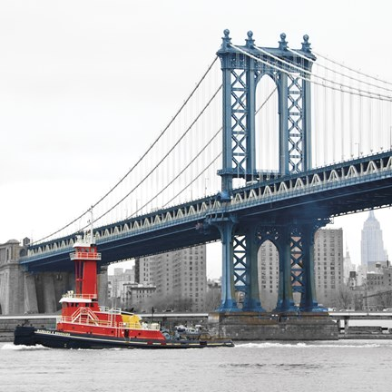 Framed Manhattan Bridge with Tug Boat Print