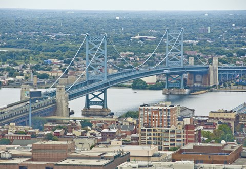 Framed Benjamin Franklin Bridge (aerial) Print