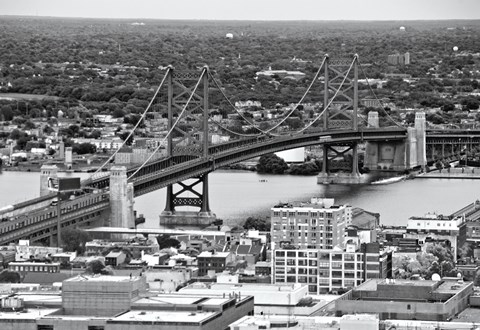 Framed Benjamin Franklin Bridge (aerial) (b/w) Print