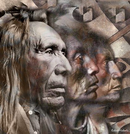 Framed Three Native American Faces Print