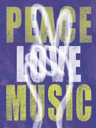 Framed Peace Love Music Print