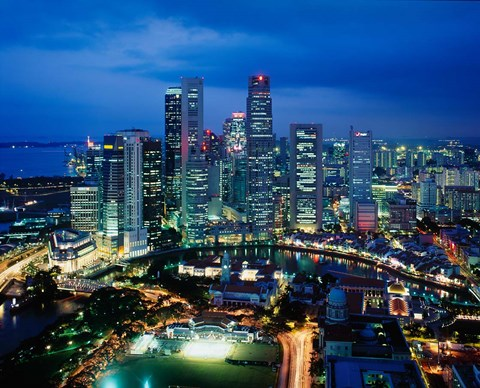 Framed Aerial View of Singapore at Night Print