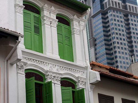 Framed Modern Buildings and Older Ones in Singapore Print