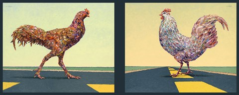 Framed Road Chickens Diptych Print