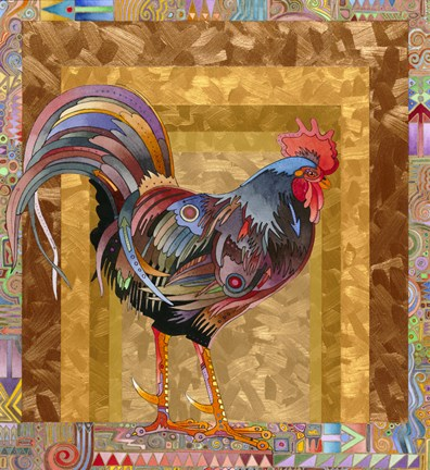 Framed Metallic Rooster Print