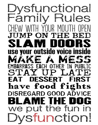 Framed Dysfunctional Family Rules 3 Print