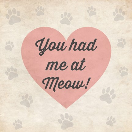 Framed You had Me at Meow! Print