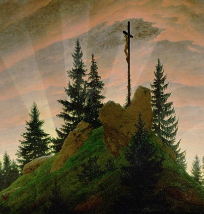 Framed Cross in the Mountains  1807-1808 Print