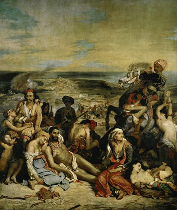 Framed Massacre of Chios Greek Families Waiting for Death or Slavery, 1824 Print