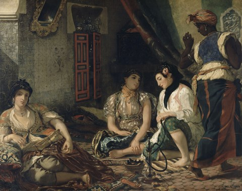 Framed Algerian Women in Their Apartment 1834 Print