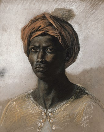 Framed Bust of a Black Man Wearing a Turban, 1826 Print