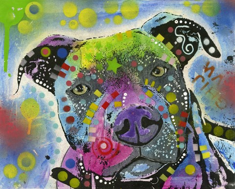 Framed Colorful Pit Bull Print