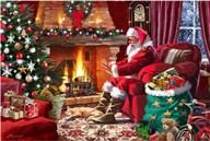 Santa By Fire  Fine Art Print
