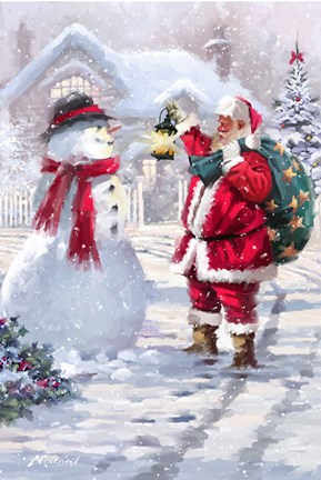 Santa With Lantern Fine Art Print By The Macneil Studio At