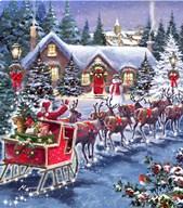 Santa And Sleigh  Fine Art Print