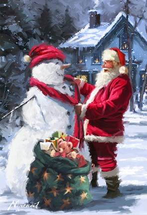 Snowman S Gift Fine Art Print By The Macneil Studio At