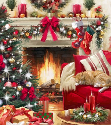Christmas Fireplace Fine Art Print By The Macneil Studio