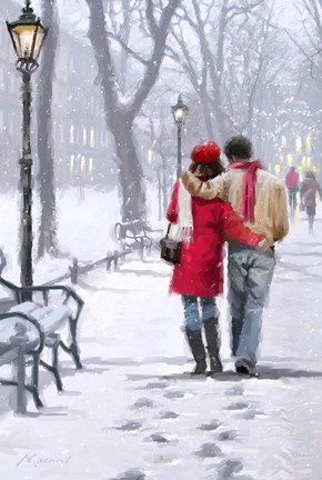 Framed Couple In City Park Print