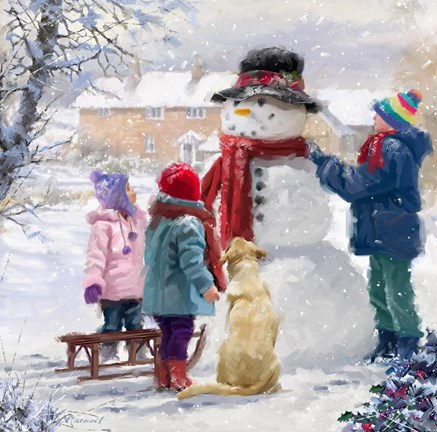 Framed Kids With Snowman Print