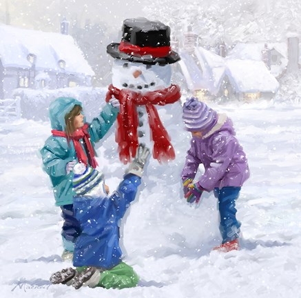 Children Making Snowman Fine Art Print By The Macneil
