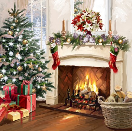 Xmas Fireplace 2 Fine Art Print By The Macneil Studio At