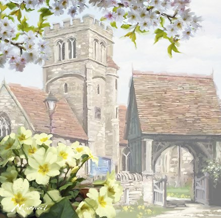 Framed Church Primroses Print