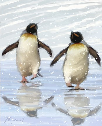 Framed Dancing Penquins Print