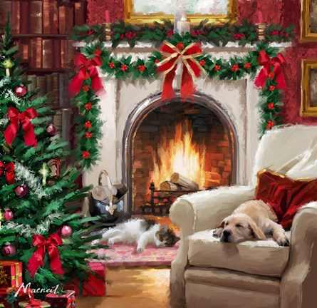 Cat By Fireplace Fine Art Print By The Macneil Studio At