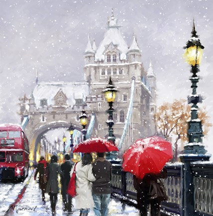 Tower Bridge In Snow Fine Art Print By The Macneil Studio