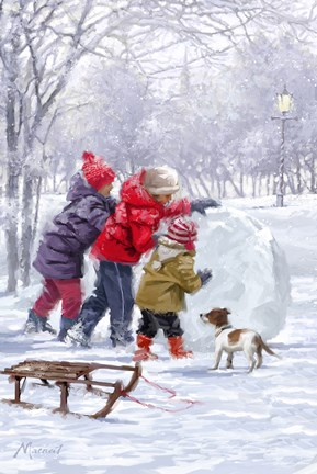 Pushing Snowball Fine Art Print By The Macneil Studio At