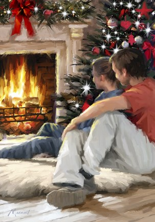 Framed Couple By Fire 2 Print
