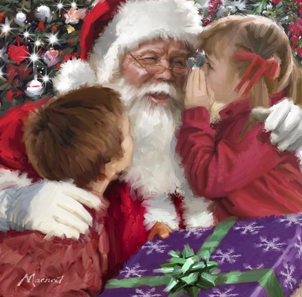 Framed Whispering To Santa Print