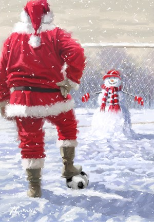 Framed Santa Playing Football Print