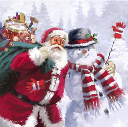 Santa Snowman Fine Art Print By The Macneil Studio At