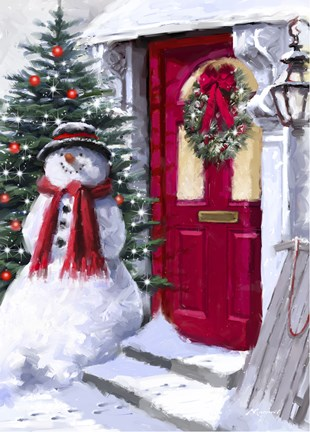 Snowman Outside Red Door Fine Art Print By The Macneil