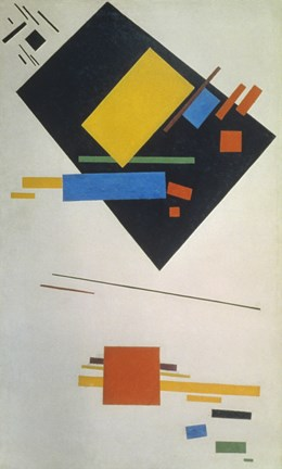 Framed Suprematist painting (with black trapezium and red square), 1915 Print