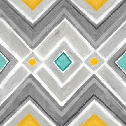 Framed Chevron Tile Black/White I Print