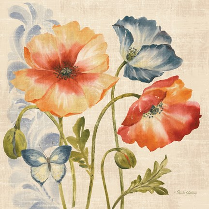 Framed Watercolor Poppies Multi I Print