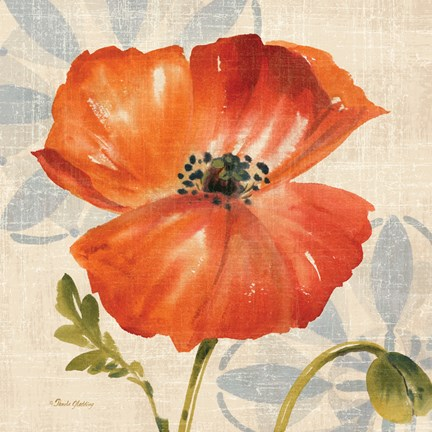 Framed Watercolor Poppies I (Orange) Print