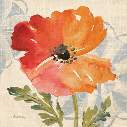 Framed Watercolor Poppies V Print