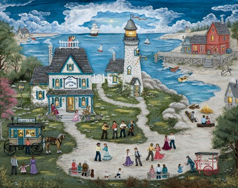 Framed Party at the Lighthouse Inn Print